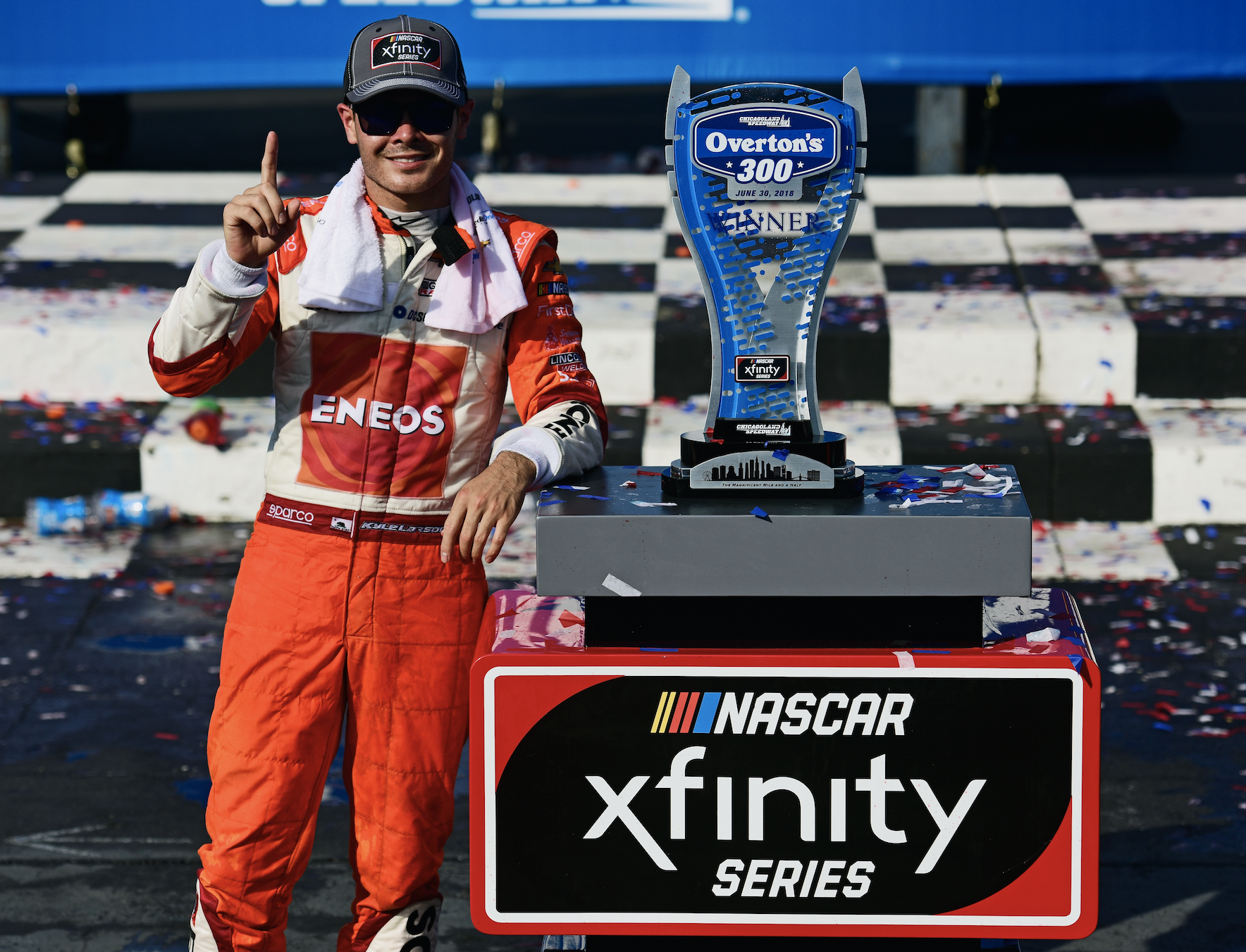 Larson, ENEOS Find Victory Lane at Chicagoland Speedway